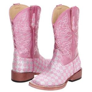 Roper pink glitters checkered kids western boots
